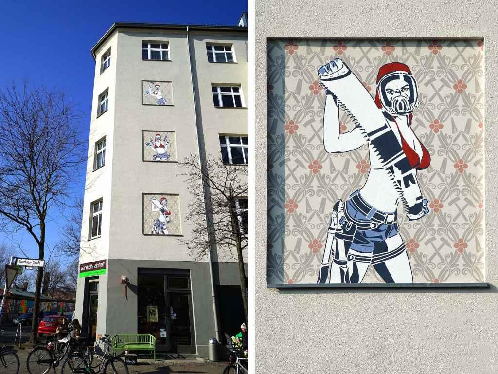 Dana Widawski · Die Drei vom Bau [The three from the building site] · façade art · 2011