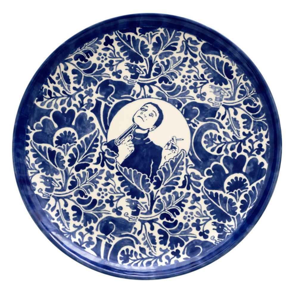 Dana Widawski · SELF MADE II, I/5 · 2016 · Tellerserie · Unterglasurmalerei auf Keramik
