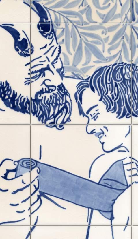 Detail · Pan and Psyche · 2016 · Unterglasurmalerei
